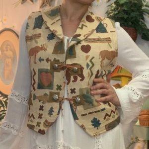 Vintage Native American moose camping motif vest